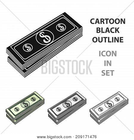 Stack of money icon in cartoon style isolated on white background. Money and finance symbol vector illustration.
