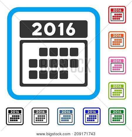 2016 Month Calendar icon. Flat gray iconic symbol in a light blue rounded rectangle. Black, gray, green, blue, red, orange color additional versions of 2016 Month Calendar vector.