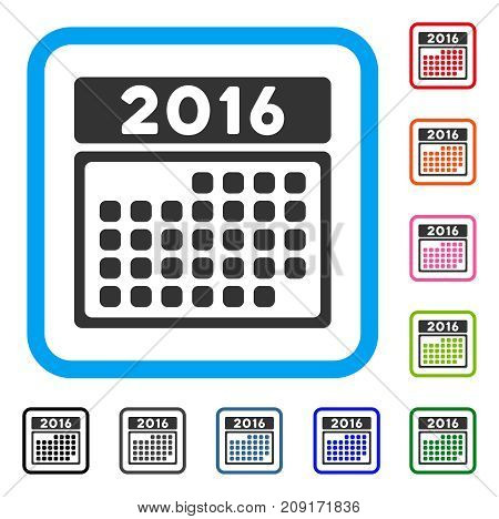 2016 Month Calendar icon. Flat gray pictogram symbol inside a light blue rounded rectangular frame. Black, gray, green, blue, red, orange color versions of 2016 Month Calendar vector.