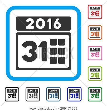 2016 Month icon. Flat gray iconic symbol inside a light blue rounded rectangle. Black, gray, green, blue, red, orange color additional versions of 2016 Month vector.