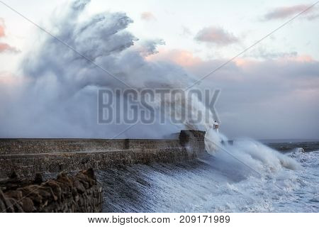 Hurricane Ophelia hits Porthcawl Porthcawl lighthouse in the jaws of Storm Ophelia as the hurricane hits the coast of South Wales, UK.