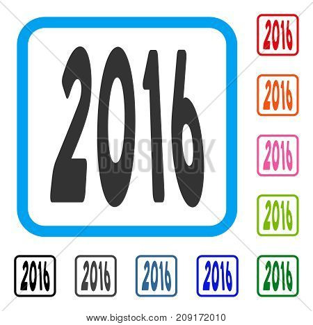 2016 Perspective icon. Flat grey pictogram symbol in a light blue rounded rectangular frame. Black, gray, green, blue, red, orange color versions of 2016 Perspective vector.