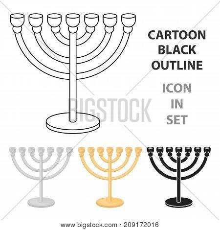 Menorah icon in cartoon style isolated on white background. Religion symbol vector illustration.