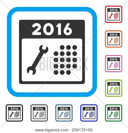 2016 Service Calendar icon. Flat gray pictogram symbol inside a light blue rounded squared frame. Black, gray, green, blue, red, orange color additional versions of 2016 Service Calendar vector.