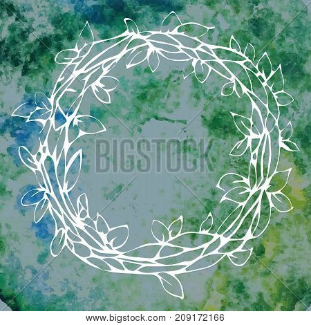 Vector colorful illustration of vintage decorative laurel wreath isolated on green watercolor background. Can be used for invitations greeting cards quotes blogs posters and banner.
