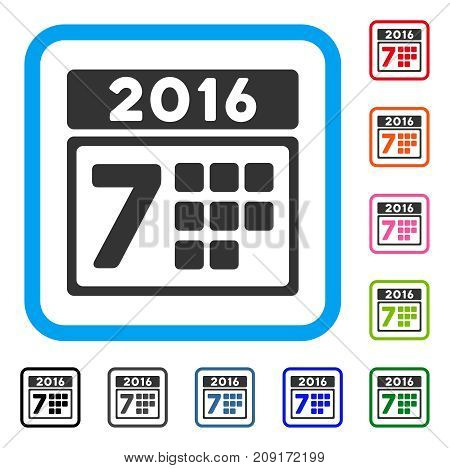 2016 Week Calendar icon. Flat gray pictogram symbol inside a light blue rounded square. Black, gray, green, blue, red, orange color variants of 2016 Week Calendar vector.