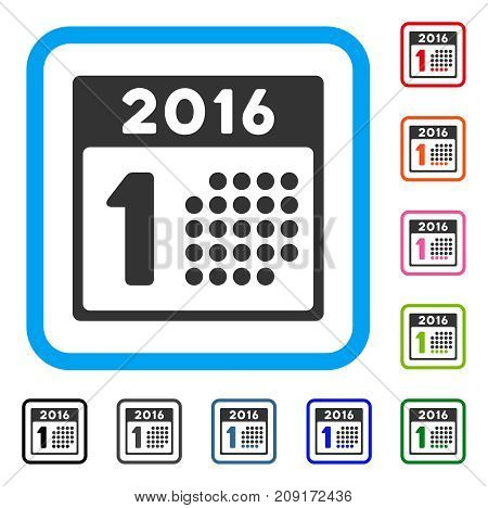 First 2016 Day icon. Flat grey pictogram symbol inside a light blue rounded frame. Black, gray, green, blue, red, orange color additional versions of First 2016 Day vector.