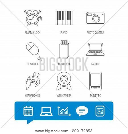 Photo camera, USB flash and notebook laptop icons. PC mouse, alarm clock and web camera linear signs. Tablet PC and music headphones icons. Report file, Graph chart and Chat speech bubble signs