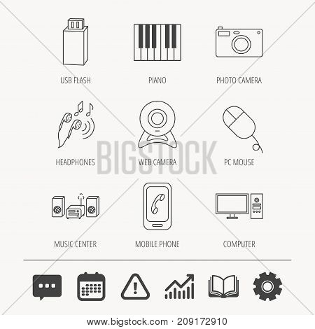 Smartphone, web camera and USB flash icons. Headphones, piano and photo camera linear signs. Computer, music center icons. Education book, Graph chart and Chat signs. Vector