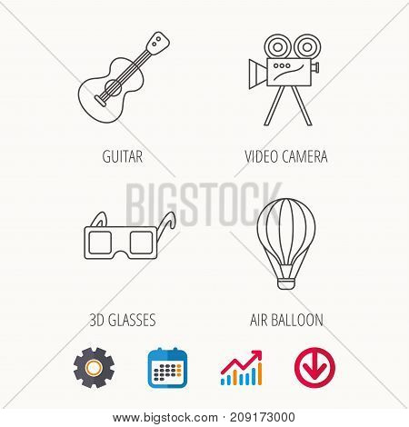 Guitar music, 3d glasses and air balloon icons. Video camera linear sign. Calendar, Graph chart and Cogwheel signs. Download colored web icon. Vector