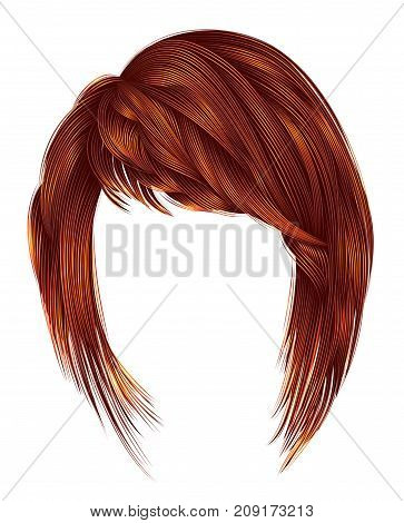 trendy woman hairs kare with fringe .Red ginger redhead ginger colors . medium length . beauty style . realistic 3d .