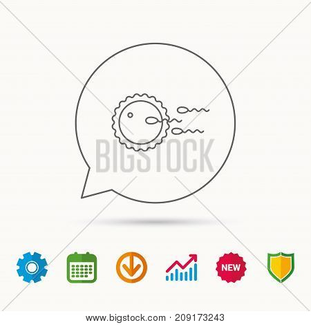 Family planning icon. Fertilization sign. Calendar, Graph chart and Cogwheel signs. Download and Shield web icons. Vector