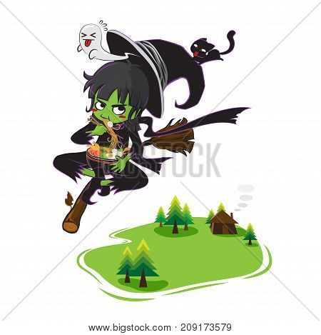 green witch riding broom in the sky vector