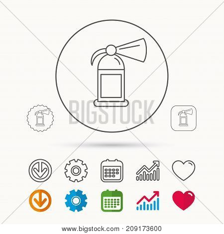 Fire extinguisher icon. Flame protection sign. Calendar, Graph chart and Cogwheel signs. Download and Heart love linear web icons. Vector