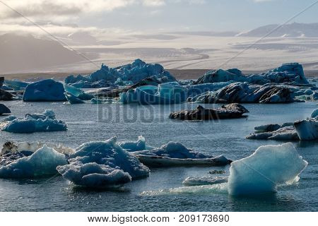 View of melting down glacier due to global warming