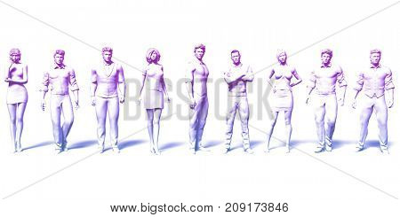 Business Executives Standing Against the Background as Art