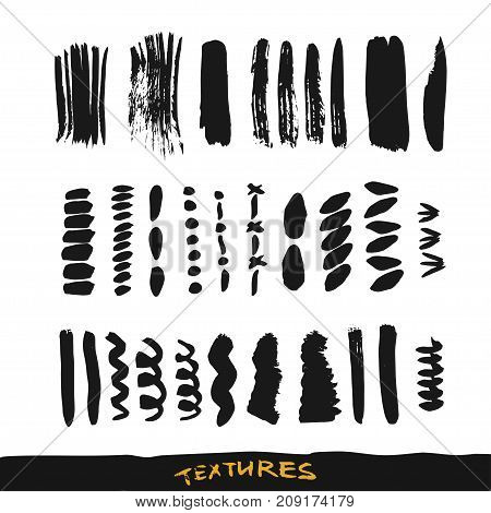 Grunge ink brush strokes. Vector design elements collection. Hand drawn textures