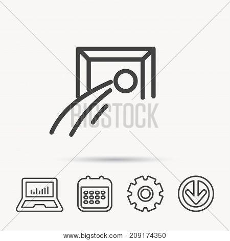 Football goalkeeper icon. Soccer sport sign. Team goal game symbol. Notebook, Calendar and Cogwheel signs. Download arrow web icon. Vector