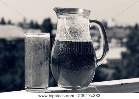 Summer Time. Crafting A Beer In A Jug And A Glass.