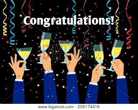 Congratulations vector poster with hands holding drinking glasses and serpentine on dark background