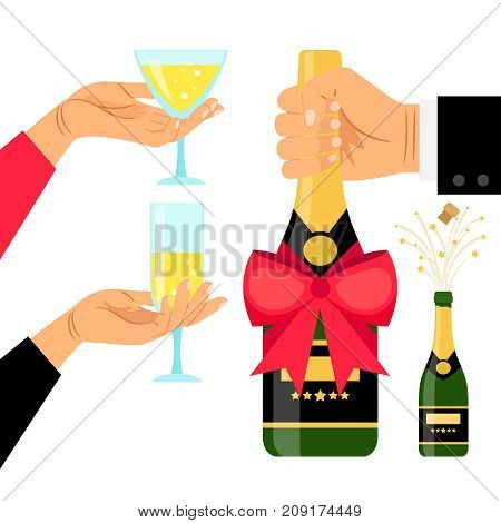 Champagne bottle and drinking glasses in hands, vector illustration