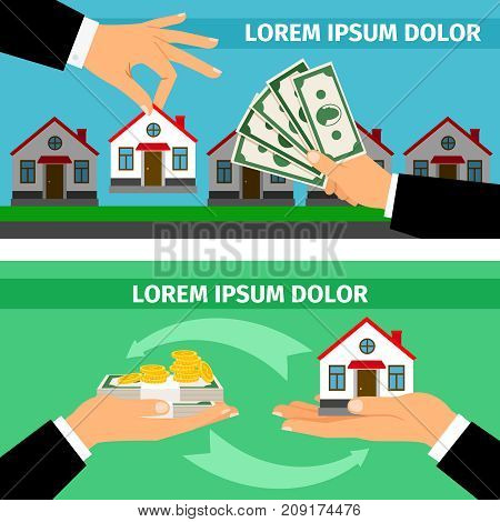 Buy home banners collections. Businessman hands giving money and taking house building, vector illustration