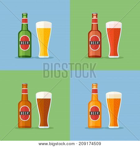 Set of bottle and glass with beer flat icons. Vector illustration.