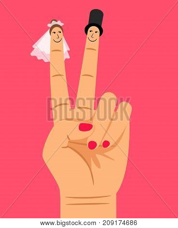Finger puppets of bride and groom on woman hand, vector illustration