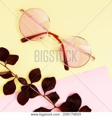 Minimal Style. Minimalist Fashion Photography. Fashion Summer Is Coming Concept. Pink Glasses On A P