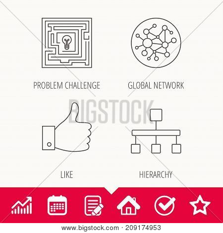 Global network, like and hierarchy icons. Maze linear sign. Edit document, Calendar and Graph chart signs. Star, Check and House web icons. Vector