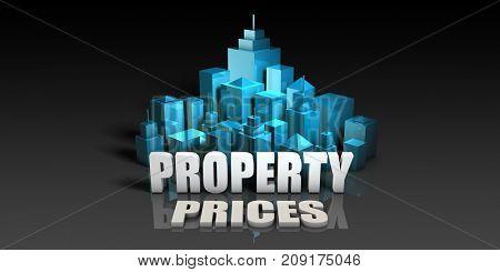Property Prices Concept in Blue on Black Background 3D Illustration Render