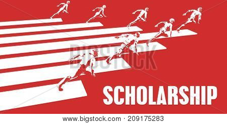 Scholarship with Business People Running in a Path 3D Illustration Render