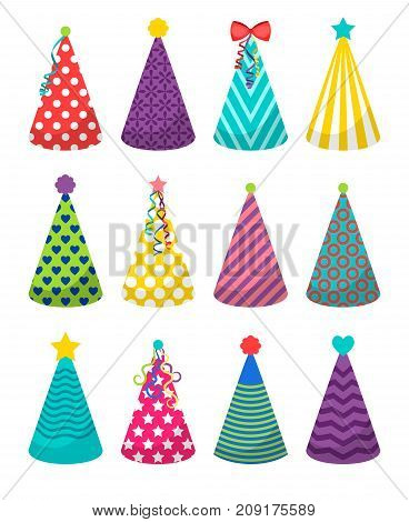Colorful party hats icons on white background. Vector illustration