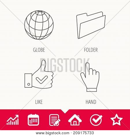 Folder, press hand and world globe icons. Social network linear sign. Edit document, Calendar and Graph chart signs. Star, Check and House web icons. Vector