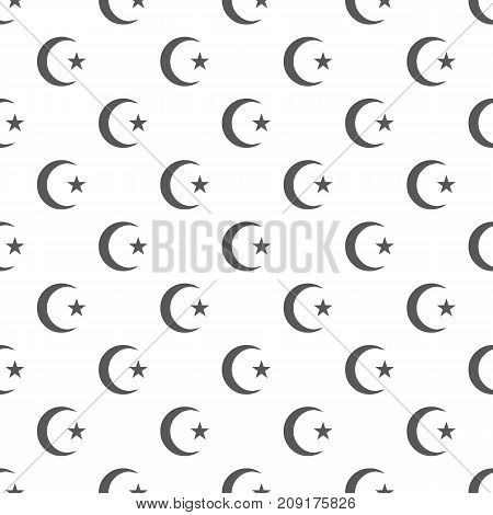 Islamic crescent moon pattern seamless. Repeat illustration of islamic crescent moon pattern vector geometric for any web design