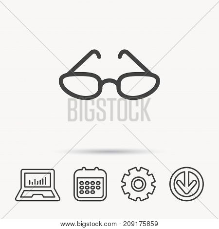 Glasses icon. Reading accessory sign. Notebook, Calendar and Cogwheel signs. Download arrow web icon. Vector
