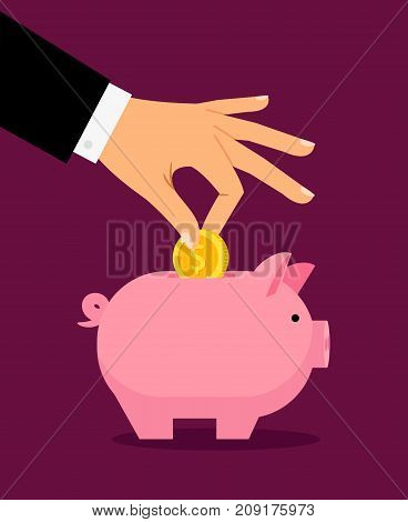 Piggy money box and businessman hand putting money in it, vector illustration