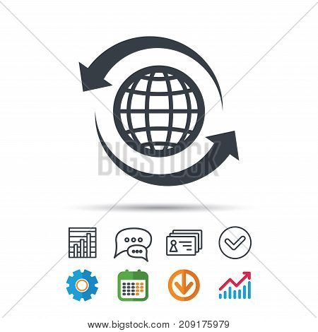 Globe icon. World or internet symbol. Statistics chart, chat speech bubble and contacts signs. Check web icon. Vector