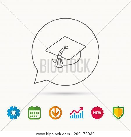 Graduation cap icon. Diploma ceremony sign. Calendar, Graph chart and Cogwheel signs. Download and Shield web icons. Vector