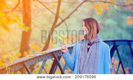 Woman Holding Yellow Maple Tree Leaf In Autum Park
