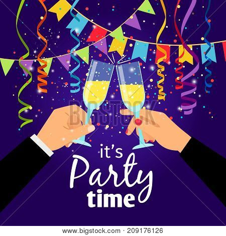 Couple party poster with hands holding drinking glasses and serpentine, vector illustration