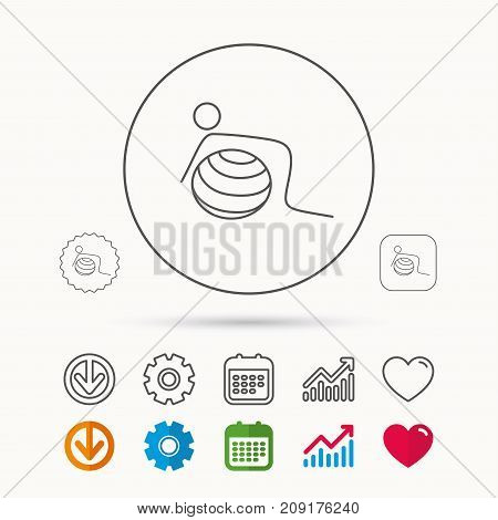 Gymnastic ball icon. Pilates fitness sign. Sport workout symbol. Calendar, Graph chart and Cogwheel signs. Download and Heart love linear web icons. Vector