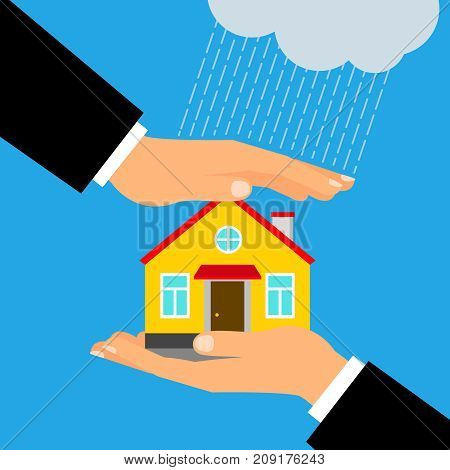 Insurance for home vector illustration. Hands holding and covering house building