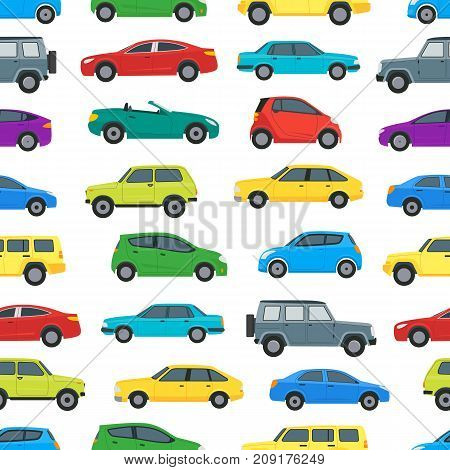 Cartoon Cars Color Background Pattern on a White Hatchback, Universal and Sedan. Vector illustration