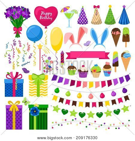 Party colorful icons set vector illustration. Gift boxes partu hats, bounting flags and sweet cupcakes