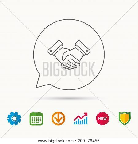 Handshake icon. Deal agreement sign. Business partnership symbol. Calendar, Graph chart and Cogwheel signs. Download and Shield web icons. Vector