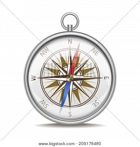 Realistic Detailed 3d Metal Compass with Windrose Old Style Equipment Navigation Isolated on a White Background. Vector illustration