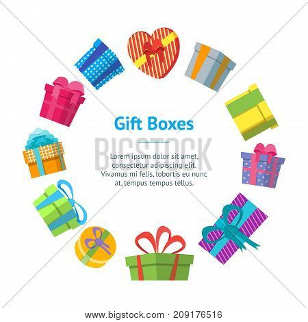 Cartoon Color Gift Boxes Banner Card Circle Flat Style Design Elements for Celebration or Holiday. Present Birthday Card Vector illustration