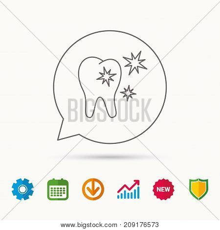 Healthy tooth icon. Dental protection sign. Calendar, Graph chart and Cogwheel signs. Download and Shield web icons. Vector