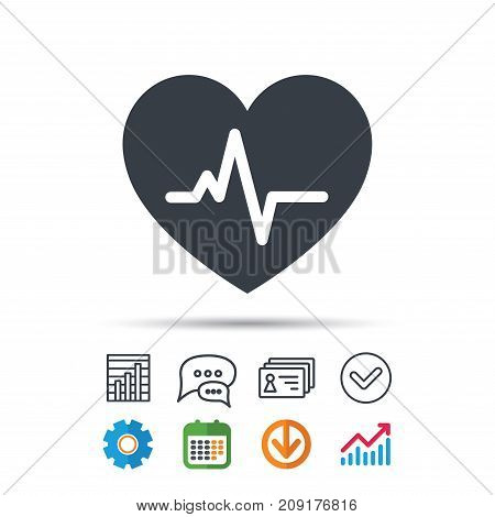 Heartbeat icon. Cardiology symbol. Medical pressure sign. Statistics chart, chat speech bubble and contacts signs. Check web icon. Vector